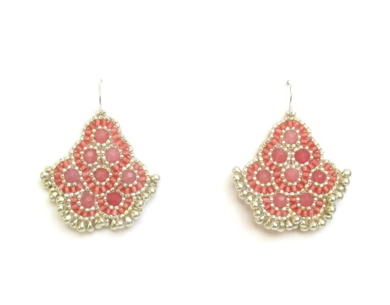 Laloo – Andalucia Earrings, rose jade with silver