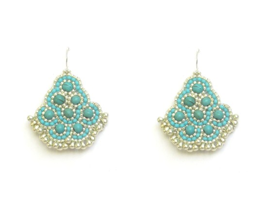 Laloo – Andalucia Earrings, turquoise howlite with silver