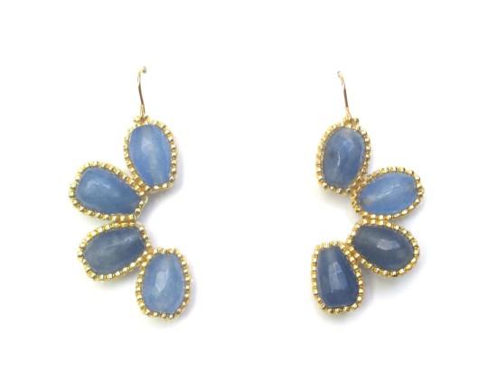 Laloo – Asterisk Crescent Earrings, blue jade