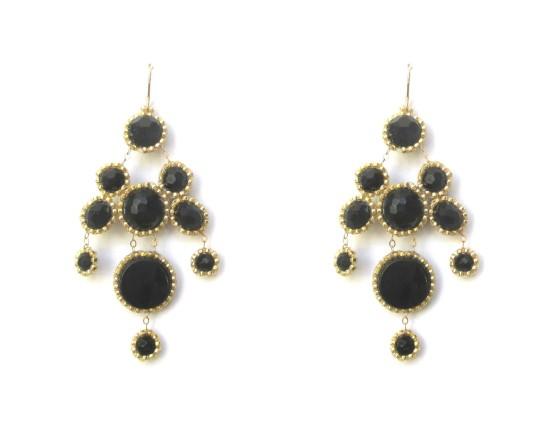 Laloo – Bubbles Chandelier Earrings, onyx
