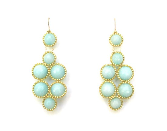 Laloo – Bubbles Earrings, large, light blue jade