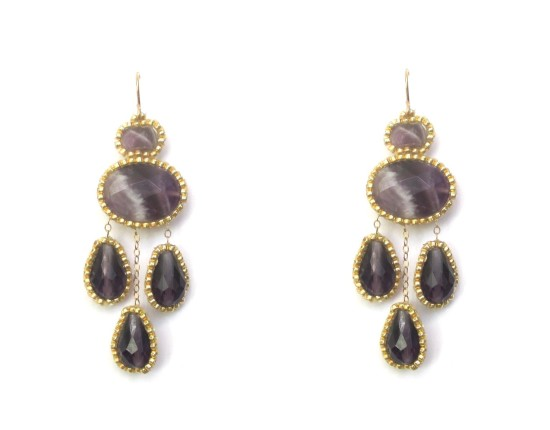 Laloo – Cumi Chandelier Earrings, amethyst and purple glass