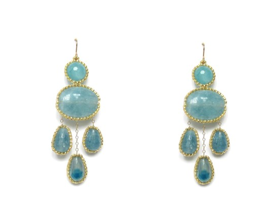 Laloo – Cumi Chandelier Earrings, blue jade