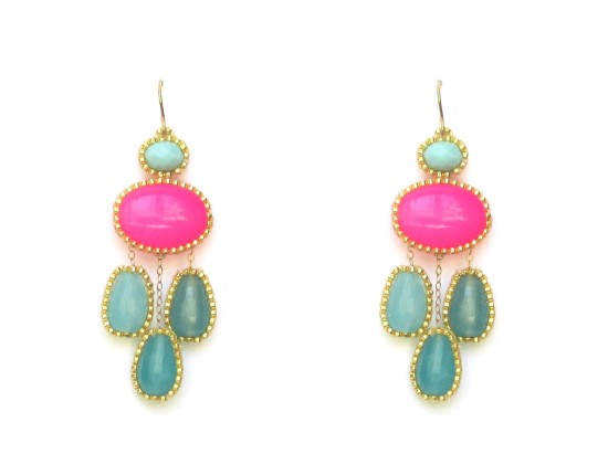 Laloo – Cumi Chandelier Earrings, blue jade and pink glass