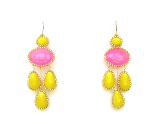 Laloo – Cumi Chandelier Earrings, pink and yellow glass