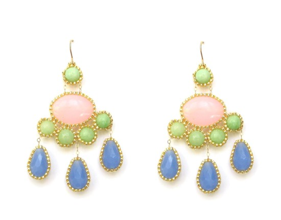 Laloo – Cumi Deluxe Chandeliers, green jade, pink and blue glass