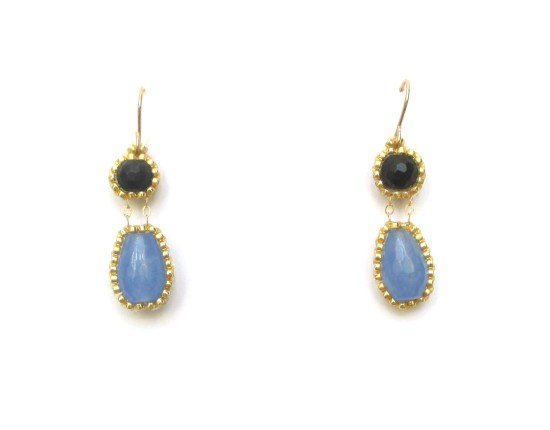 Laloo – Exclamation Earrings, blue jade and black onyx