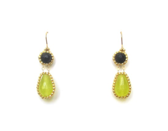Laloo – Exclamation Earrings, lime jade and onyx