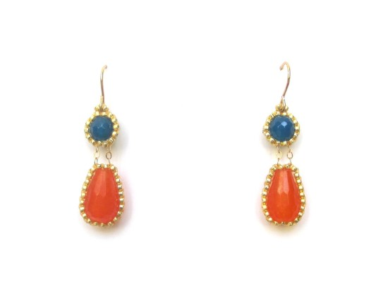 Laloo – Exclamation Earrings, orange and cobalt jade