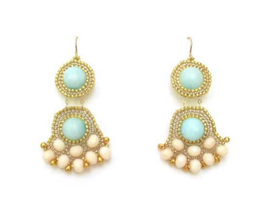 Laloo – Fandangle Chandelier Earrings, light blue jade and blush glass