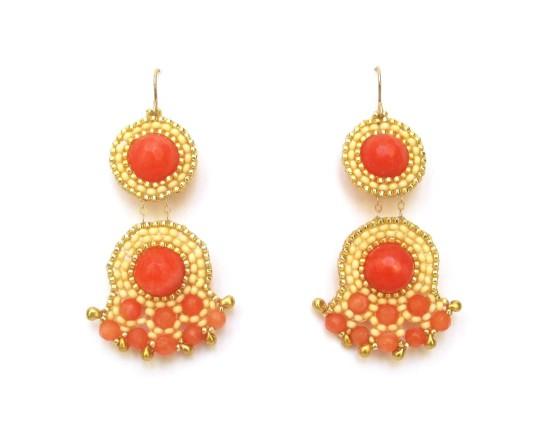 Laloo – Fandangle Chandelier Earrings, orange jade