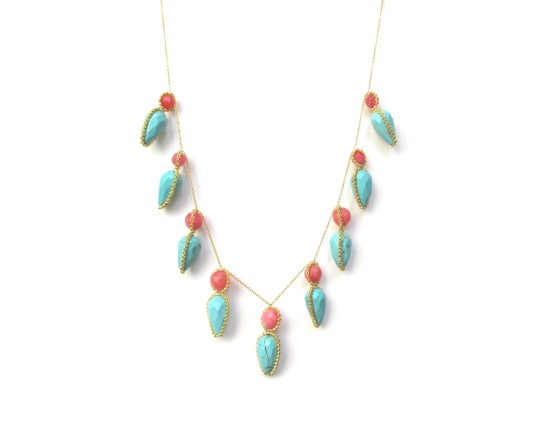 Laloo – Firefly Necklace, berry jade and turquoise howlite