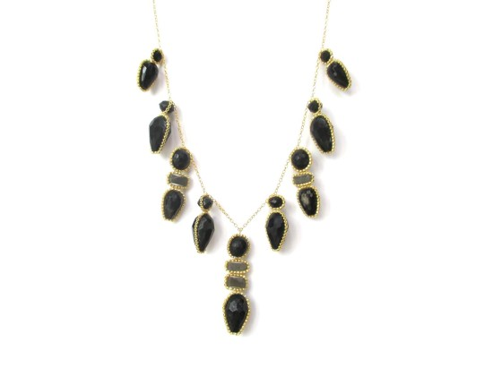 Laloo – Firefly Necklace, black obsidian and quartz