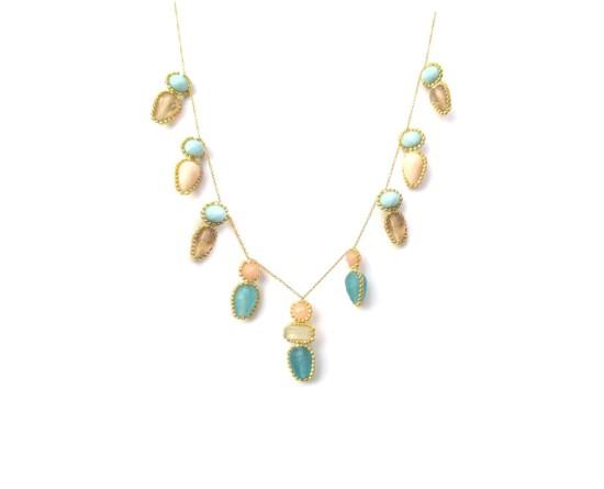 Laloo – Firefly Necklace, blue jade, quartz and blue, peach and smoke glass