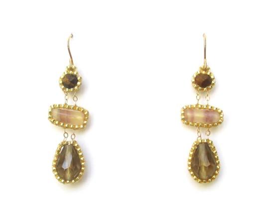 Laloo – Fraction Earrings, tigerseye and fluorite