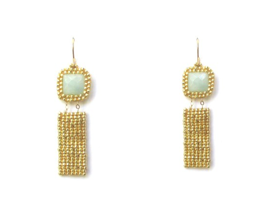 Laloo – Gemstone Exclamation Earrings, amazonite with gold
