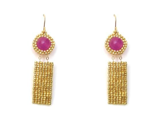 Laloo – Gemstone Exclamation Earrings, magenta jade