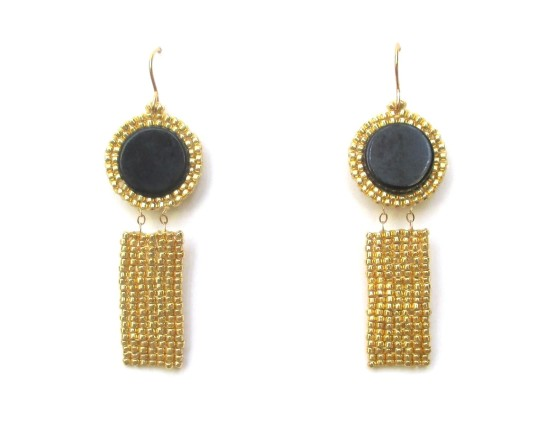 Laloo – Gemstone Exclamation Earrings, onyx