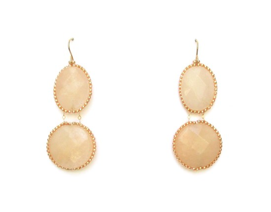 Laloo – Hard Candy Double Cameo Earrings, pink quartz