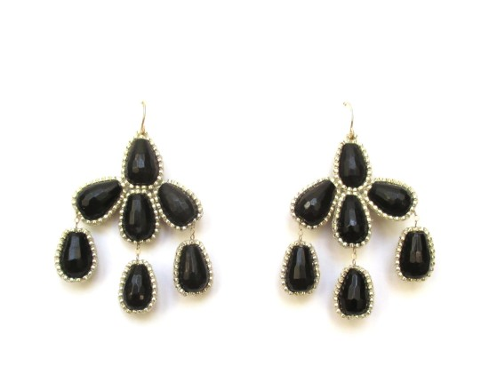 Laloo – Hyades Chandelier Earrings, black obsidian with gold