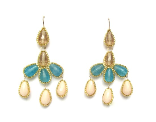 Laloo – Hyades Chandelier Earrings, blue jade and blush and smoke glass