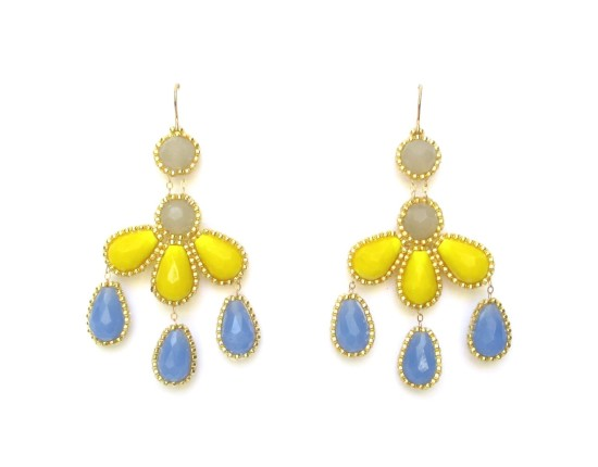 Laloo – Hyades Chandelier Earrings, blue, yellow and grey glass