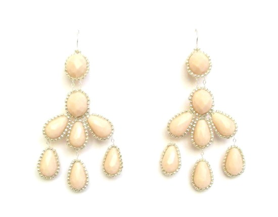 Laloo – Hyades Chandelier Earrings, blush glass with silver