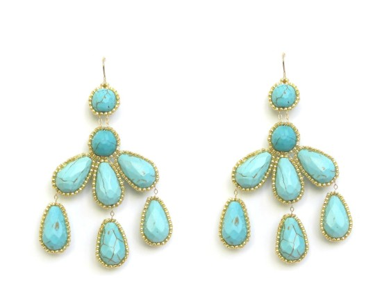 Laloo – Hyades Chandelier Earrings, turquoise howlite with gold