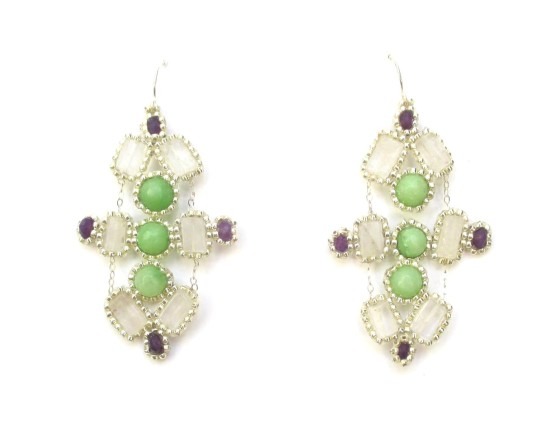 Laloo – Kaleidescope Chandeliers, green jade, purple agate and clear quartz
