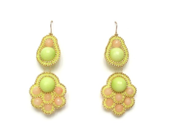 Laloo – Ming Chandelier Earrings, chartreuse and grapefruit jade