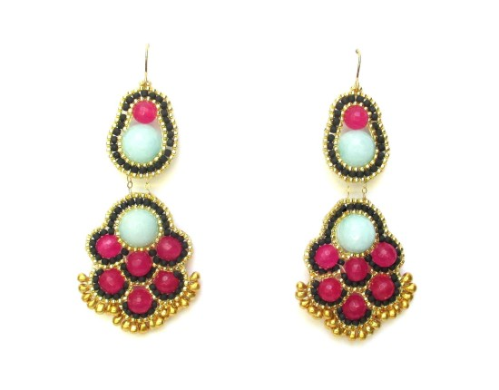 Laloo – Ming Chandelier Earrings, light blue and magenta jade