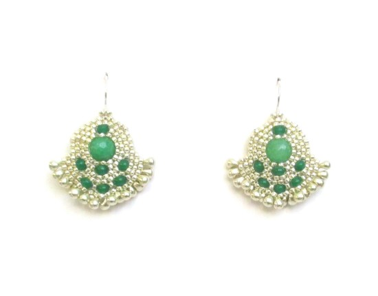 Laloo – Orion Solo Earrings, green jade with silver