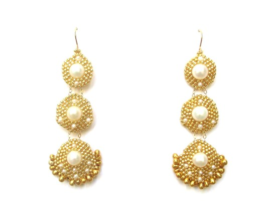 Laloo – Orion Trio Earrings, pearl