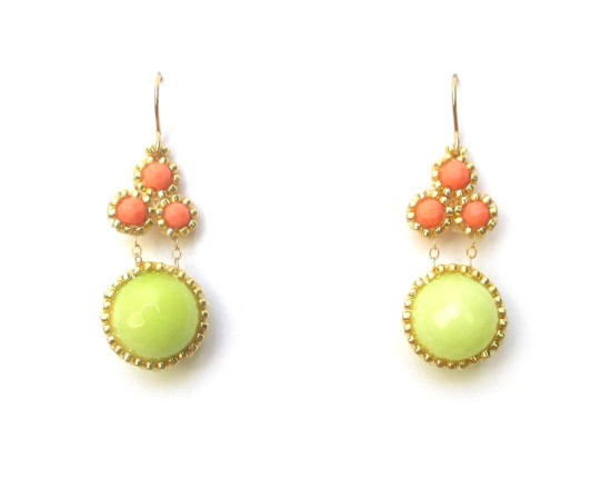 Laloo – Stonefruit Earrings, coral howlite and lime jade