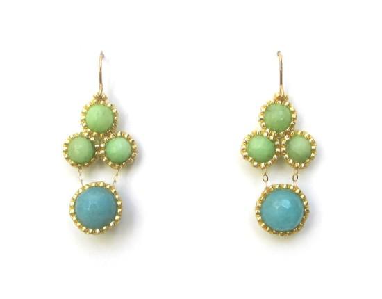 Laloo – Stonefruit Earrings, green and blue jade