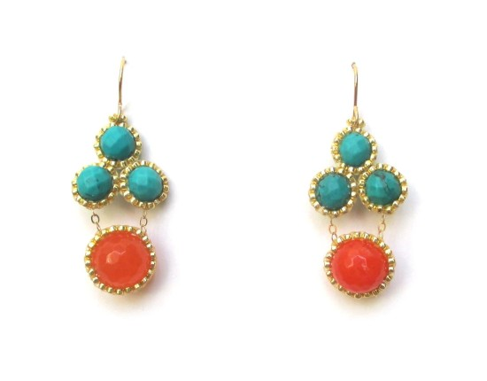 Laloo – Stonefruit Earrings, green howlite and orange jade