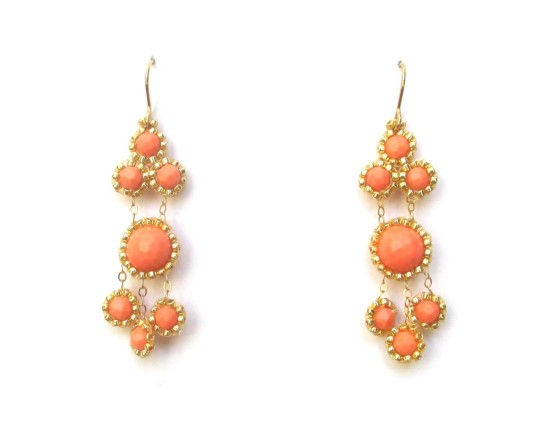 Laloo – Stonefruite Dangle Earrings, coral howlite