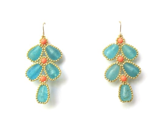 Laloo – Wisteria Earrings, blue jade and coral howlite
