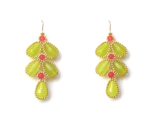 Laloo – Wisteria Earrings, lime and berry jade