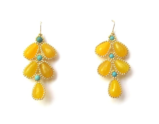 Laloo – Wisteria Earrings, yellow jade and turquoise howlite