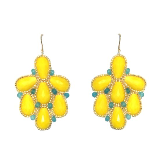 Deluxe Peacock Chandeliers – yellow glass and blue jade