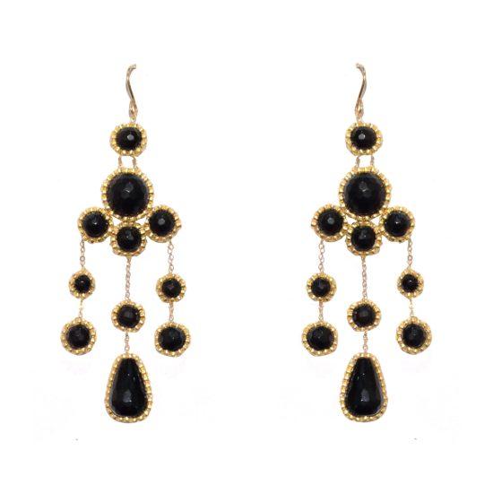 Laloo – Bubbles Duster Earrings, onyx and obsidian
