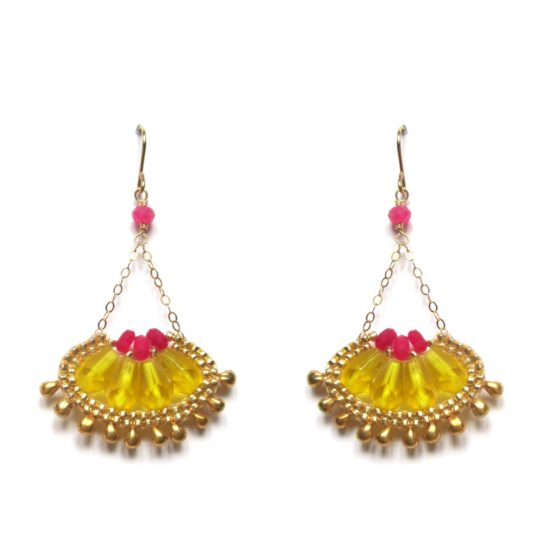 Laloo – Cactus Bloom Earrings, yellow and magenta