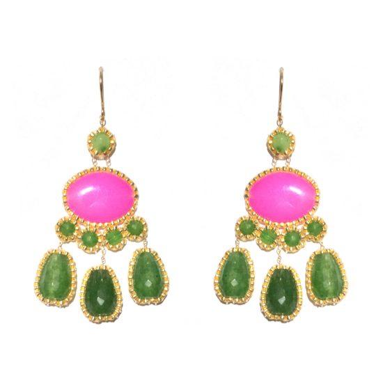 Laloo – Cumi Deluxe Chandeliers, green jade and aventurine