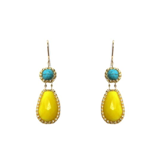 Laloo – Exclamation Earrings, yellow and turquoise