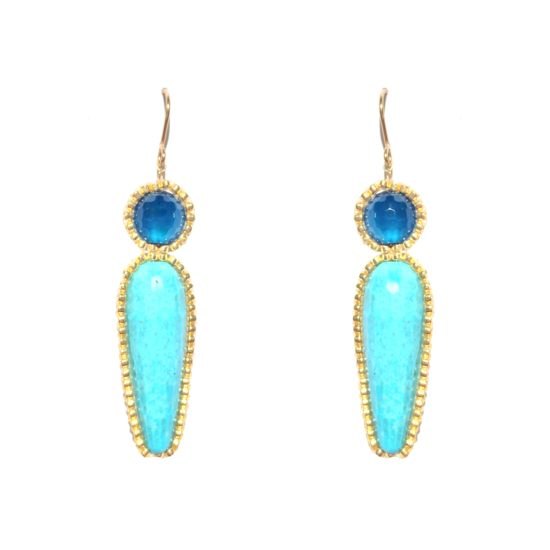 Laloo – Firefly Earrings, howlite and jade