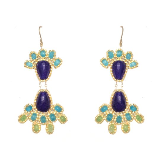 Laloo – Fireworks Chandeliers, blue jade and blue and green agate