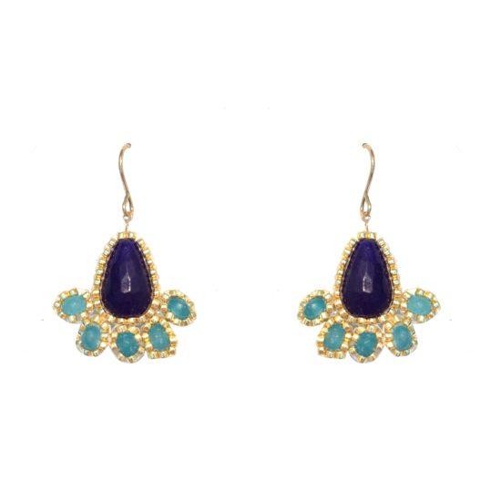 Laloo – Fireworks Earrings, blue jade and agate