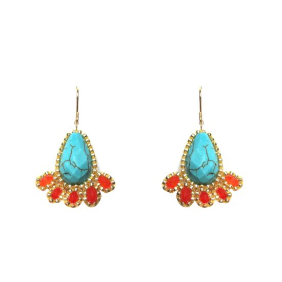 Laloo – Fireworks Earrings, turquoise and orange