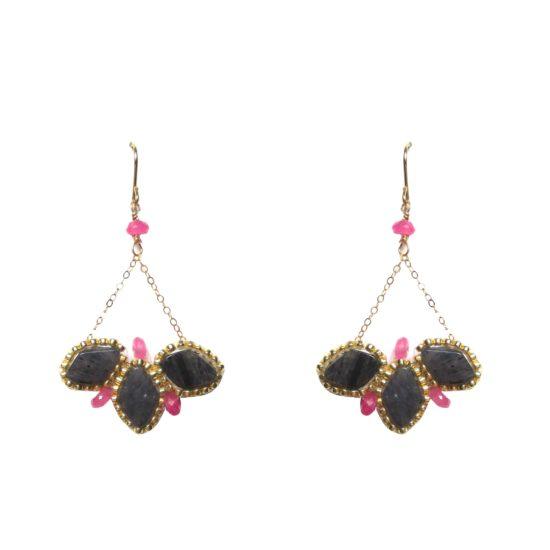 Laloo – Lotus Earrings, lapis and agate